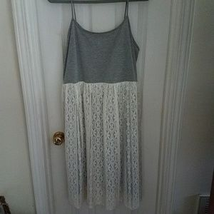 Xhilaration Gray and Creamy White Lace Dress